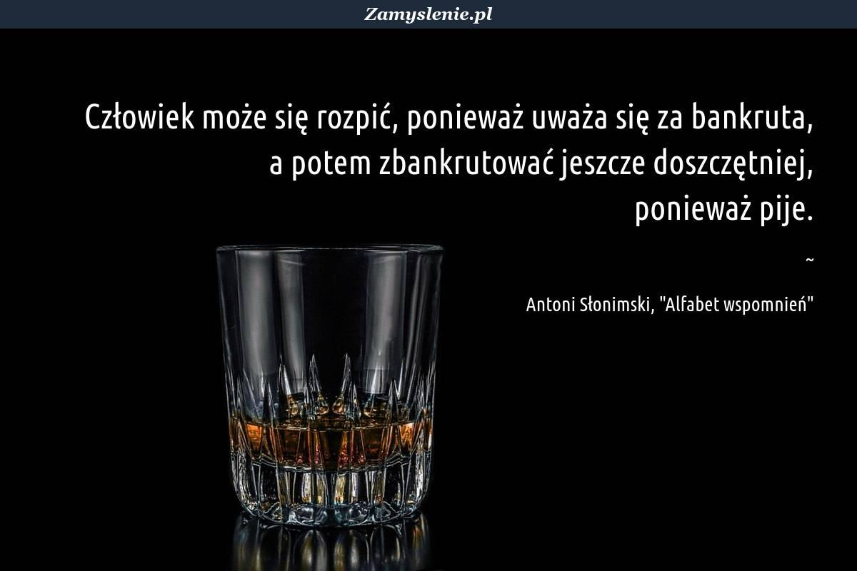 Obraz / mem do cytatu: Człowiek może się rozpić, ponieważ uważa się za bankruta, a potem zbankrutować jeszcze doszczętniej, ponieważ pije.