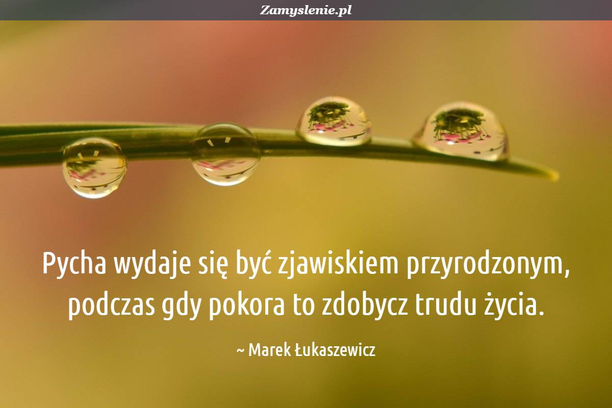 Obraz / mem do cytatu: Pycha wydaje się być zjawiskiem przyrodzonym, podczas gdy pokora to zdobycz trudu życia.