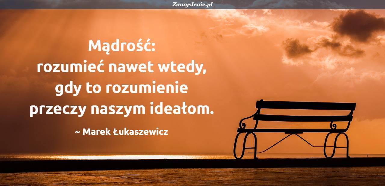 Obraz / mem do cytatu: Mądrość: rozumieć nawet wtedy, gdy to rozumienie przeczy naszym ideałom.