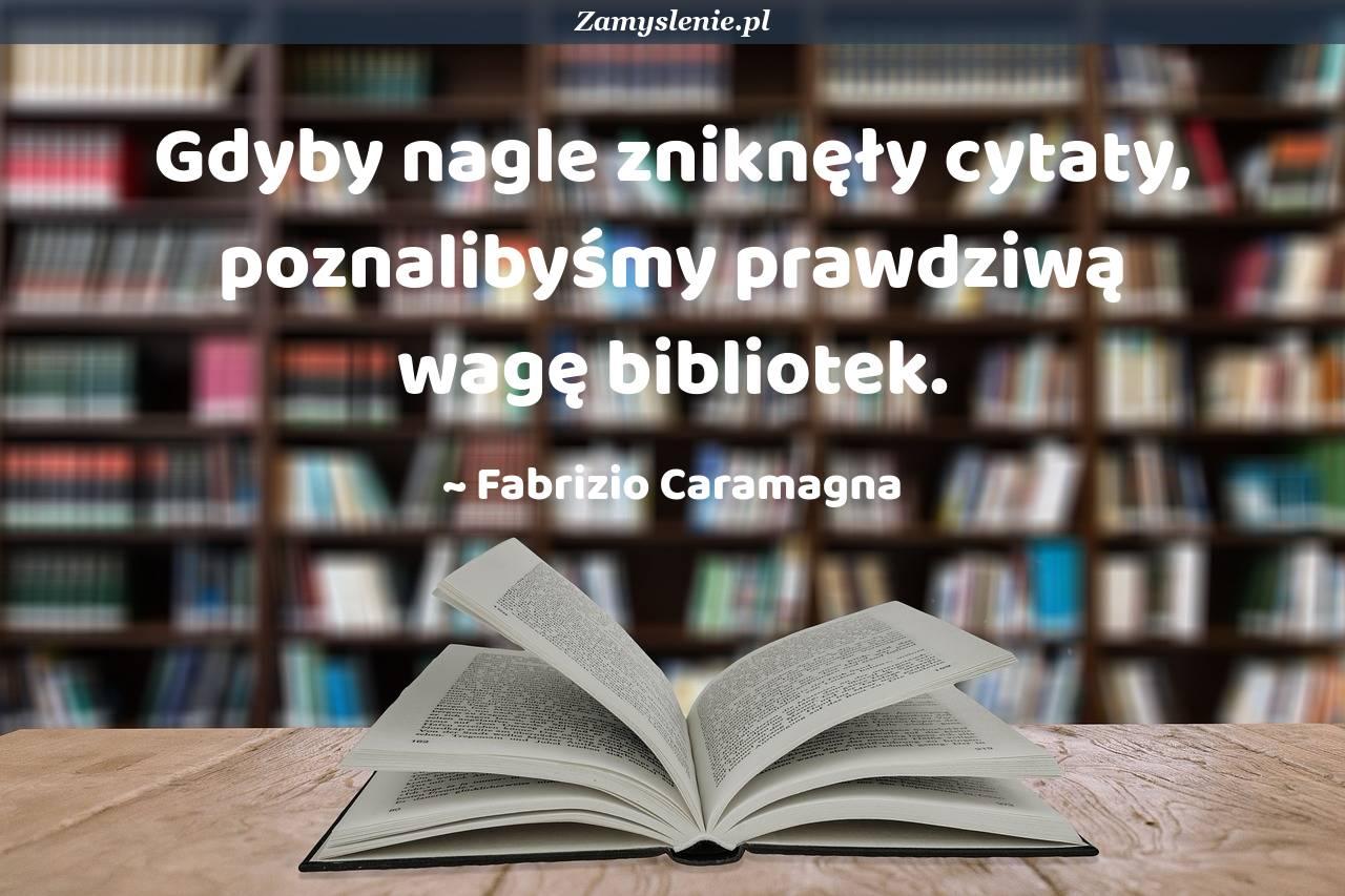 Obraz / mem do cytatu: Gdyby nagle zniknęły cytaty, poznalibyśmy prawdziwą wagę bibliotek.