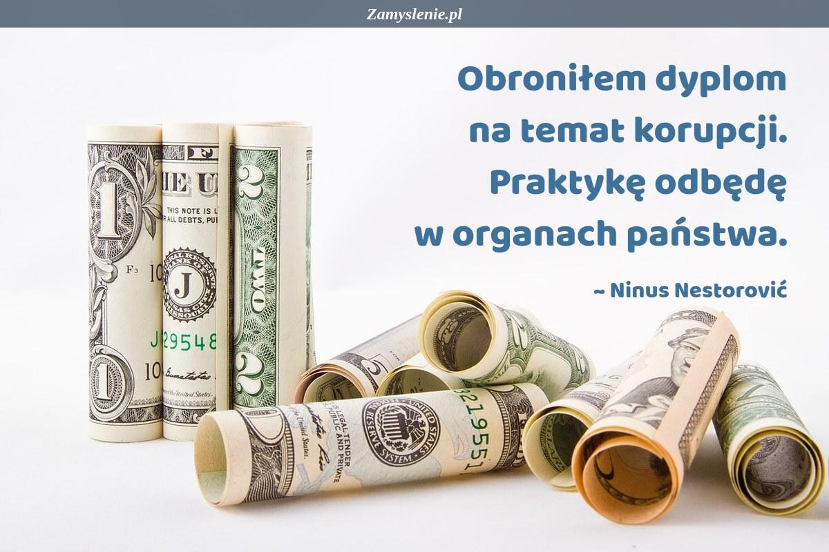 Obraz / mem do cytatu: Obroniłem dyplom na temat korupcji. Praktykę odbędę w organach państwa.