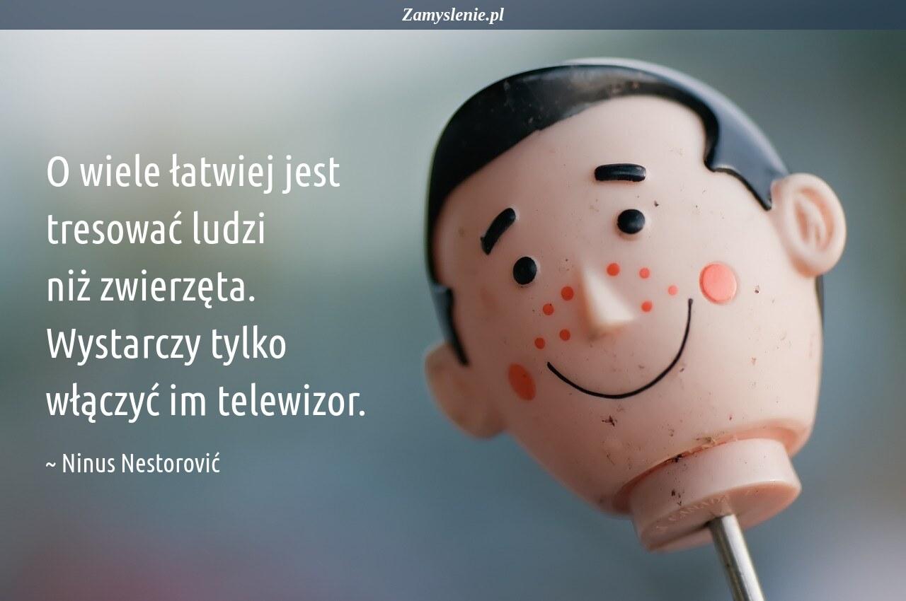 Obraz / mem do cytatu: O wiele łatwiej jest tresować ludzi niż zwierzęta. Wystarczy tylko włączyć im telewizor.